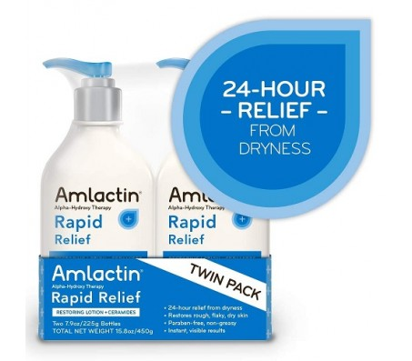 AmLactin Alpha-Hydroxy Therapy Rapid Relief Restoring Lotion + Ceramides  225g Each
