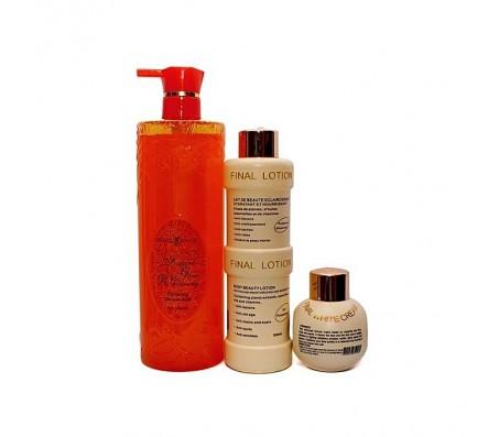 Maine Beach Natural Skin Glow Whitening Shower Bath, + Final White Body Lotion, + Face Cream