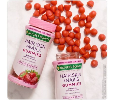 Nature's Bounty Hair, Skin & Nails 2,500 mcg of Biotin , 80 Strawberry Flavored Gummies
