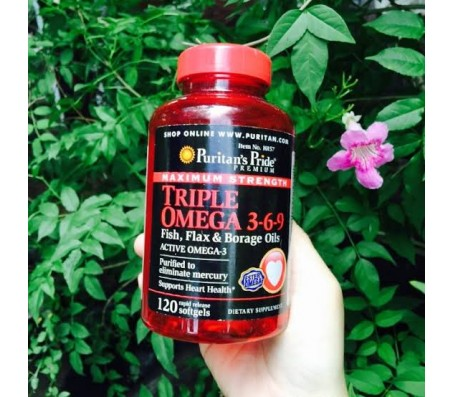 Puritan's Pride Triple Omega 3-6-9 Fish Flax & Borage Oils Active Omega-3 - Maximum Strength - 120 Capsules