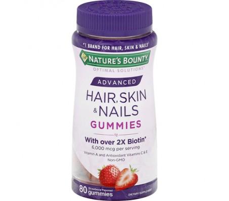Nature Bounty Advanced Hair, Skin & Nails Gummies - 80 Gummies
