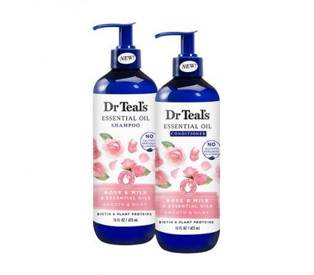 Dr Teals Rose & Milk Essential Oil Shampoo & Conditioner - 473ml Each