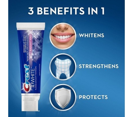 Crest 3d Teeth Whitening Radiant Mint Toothpaste - 153g